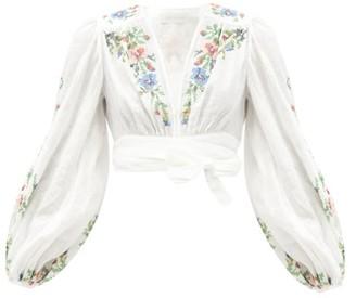 Zimmermann Juliette Cross-stitched Linen Cropped Top - White Multi
