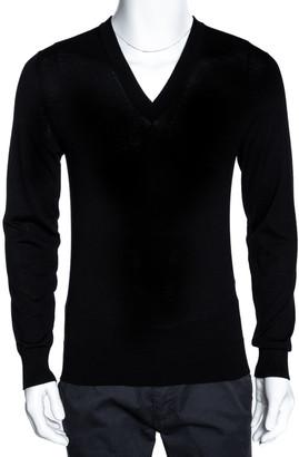 Dolce & Gabbana Black Rib Knit Wool V Neck Pullover Sweater IT 48