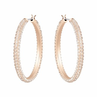 Swarovski Women's Stone Earrings Pair of Pierced Hoop Earrings with Crystals Rose-gold Tone Plated from the Stone Collection