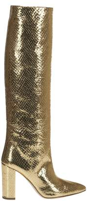 Paris Texas Gold Snake Print Boots