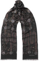 Valentino - Glaxay Fringed Printed Modal And Cashmere-blend Scarf