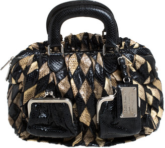 Dolce & Gabbana Black/Beige Python Miss Curly Bag
