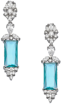 Tang & Song Sterling Silver and Blue Topaz CZ Rectangle Drop Earrings