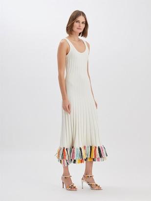 Oscar de la Renta Raffia-Embroidered Knit Dress