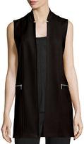 Elie Tahari Arlena Long Textured Stretch-Knit Vest