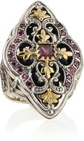 Konstantino Silver & 18k Gold Rhodolite Marquise Flower Ring, Size 7