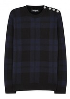 Balmain Checked Wool Jumper