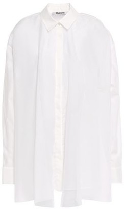 Chalayan Layered Mesh And Cotton-poplin Shirt