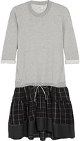 3.1 Phillip Lim Layered Cotton-jersey, Flannel And Poplin Dress - Light gray