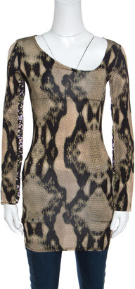 Just Cavalli Python Printed Knit Asymmetric Neckline Detail Long Sleeve Top S