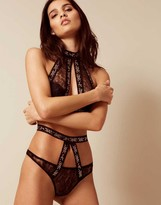 Agent Provocateur Montinah Thong Black And Rose Gold