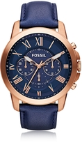 Fossil Grant Chronograph Rose Gold Tone Stainless Steel Case and Navy Blue Leather Strap Men's Watch