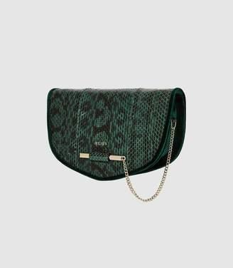 Reiss Langley Snake - Snake Skin Cross Body Bag in Dark Green