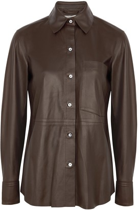 Vince Dark Brown Leather Shirt
