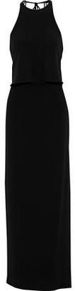 Halston Layered Stretch-crepe Halterneck Maxi Dress