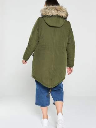 Junarose Curve Plinko Parka Coat - Green