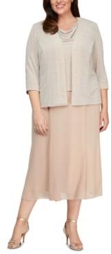Alex Evenings Plus Size Cowlneck Dress and Jacket