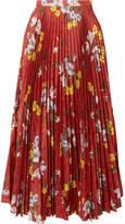 Erdem Nesrine Floral-print Satin-jacquard Midi Skirt - Red
