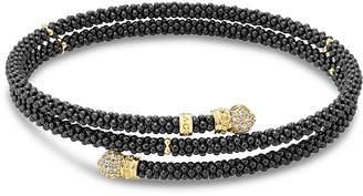 Lagos Gold & Black Caviar Collection 18K Gold & Diamond Coil Bracelet