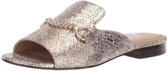 The Fix Amazon Brand Women's Nikole Open Toe Slide with Chain Detail Flat Sandal