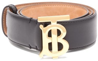 Burberry Tb Logo-plaque Leather Belt - Womens - Black Gold