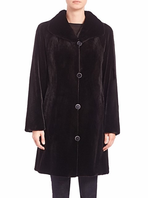 Thumbnail for your product : The Fur Salon Reversible Mink Fur Velvet Coat