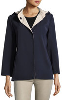 Cinzia Rocca Hooded Bracelet-Sleeve Coat, Navy