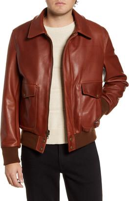 Schott NYC Pebble Texture Leather Bomber Jacket