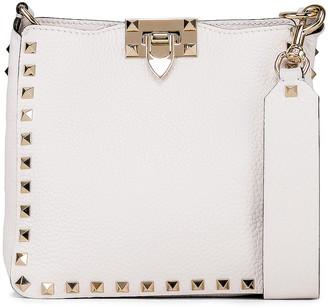 Valentino Rockstud Mini Hobo Bag in Bianco Ottico | FWRD