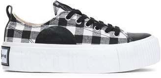 McQ Plimsoll Leather-trimmed Gingham Canvas Platform Sneakers