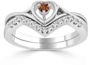 Auriya 1/4ctw Heart Shape Brown Diamond Engagement Ring Set 14k Gold