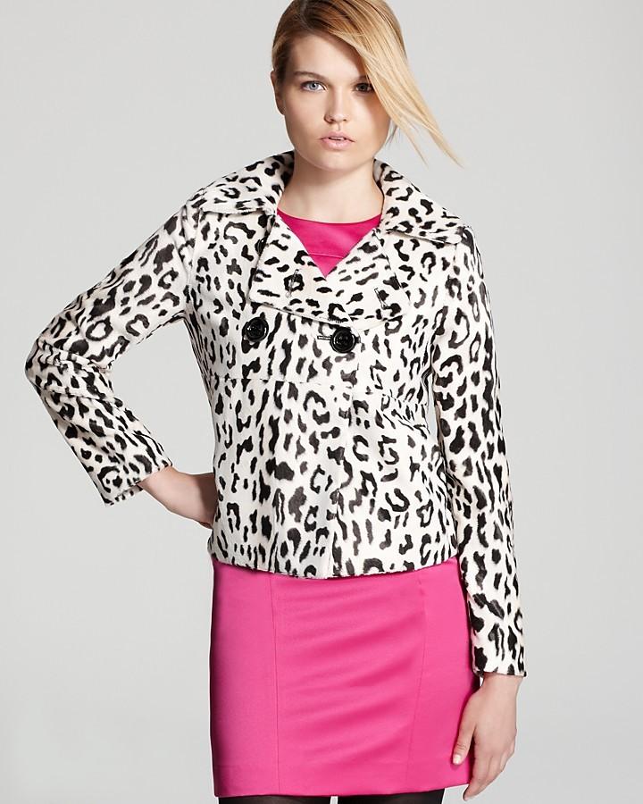 Milly Pea Coat - Faux Fur Snow Leopard