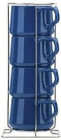 Dansk Kobenstyle Teacup with Rack, Set of 4, Blue - Blue