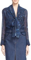 See by Chloe Women's Panther Print Georgette Blouse