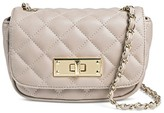 Mossimo Women's Faux Leather Quilted Crossbody Handbag with Flap and Turnkey Closure Taupe Brown