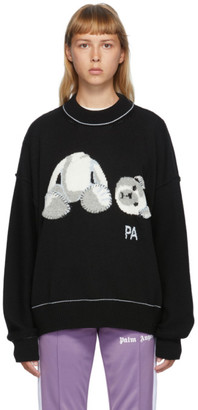Palm Angels Black Wool Ice Bear Sweater