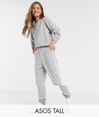 Asos Tall ASOS DESIGN Tall tracksuit sweat / basic jogger with tie with contrast binding in gray marl
