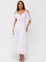 Very Cold Shoulder Drape Maxi Dress - Print