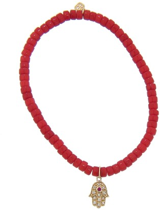 Sydney Evan Mini Diamond Hamsa on Red Bamboo Coral Beaded Bracelet - Yellow Gold