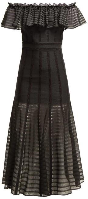 Alexander McQueen Off-the-shoulder Stripe Knitted Midi Dress - Black