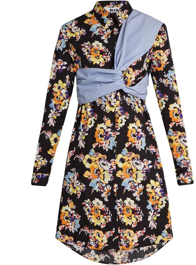 MSGM Floral-print twisted-panel cotton shirtdress