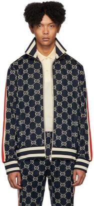 Gucci Navy Cotton Jacquard GG Jacket