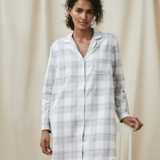 The White Company Sparkle Check Nightshirt, Grey White, Extra Small