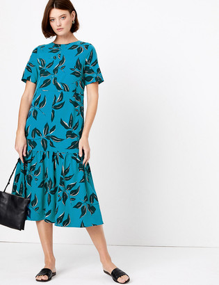 Marks and Spencer Leaf Print Midi Tiered Dress