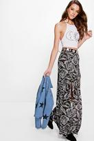Boohoo Sari Mono Paisley Double Split Maxi Skirt