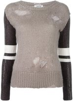 Aviu metallic sleeves frayed pullover