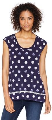 Chaus Women's Cap SLV Tie Dye Dot Top