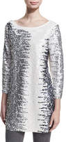 Joan Vass Sequined Boat-Neck 3/4 Sleeve Tunic, Plus Size