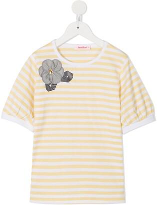 Familiar striped short-sleeve T-shirt