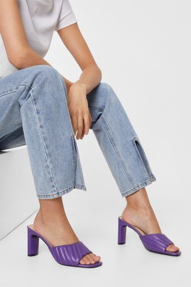 Nasty Gal Womens Quilt to Last Faux Leather Heeled Mules - Purple - 5, Purple